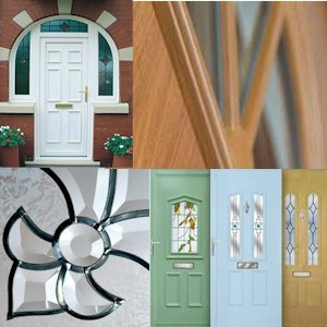 PVCu front and back door range available in many styles with matching bevelled glass and colours using COOLSKIN