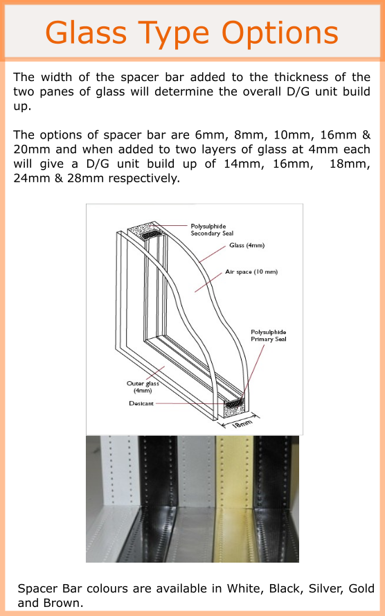Double glazed unit diagram and spacer bar options