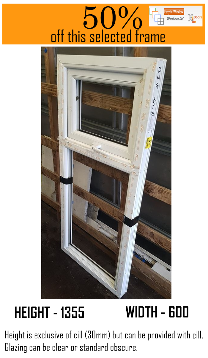 Top Hung over fixed uPVC Casement