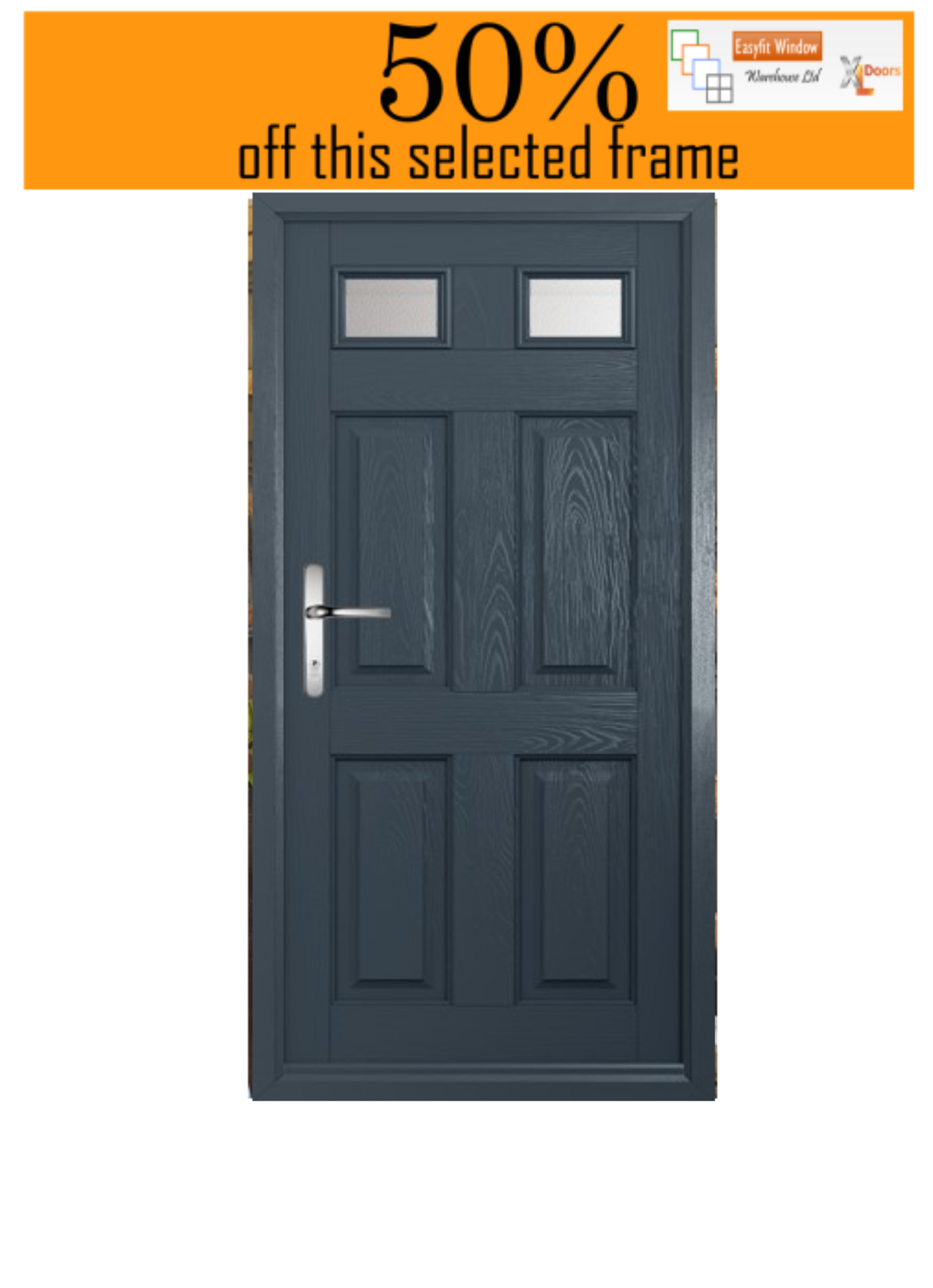 Muirfield Composite door. Anthracite Grey frame and door on the Outside and White inside. Hinged on the Right (viewed from the outside) and opening IN. Chrome lever/leverhandle and letterbox. Height is excluding a cill. Glass in any standard obscure.