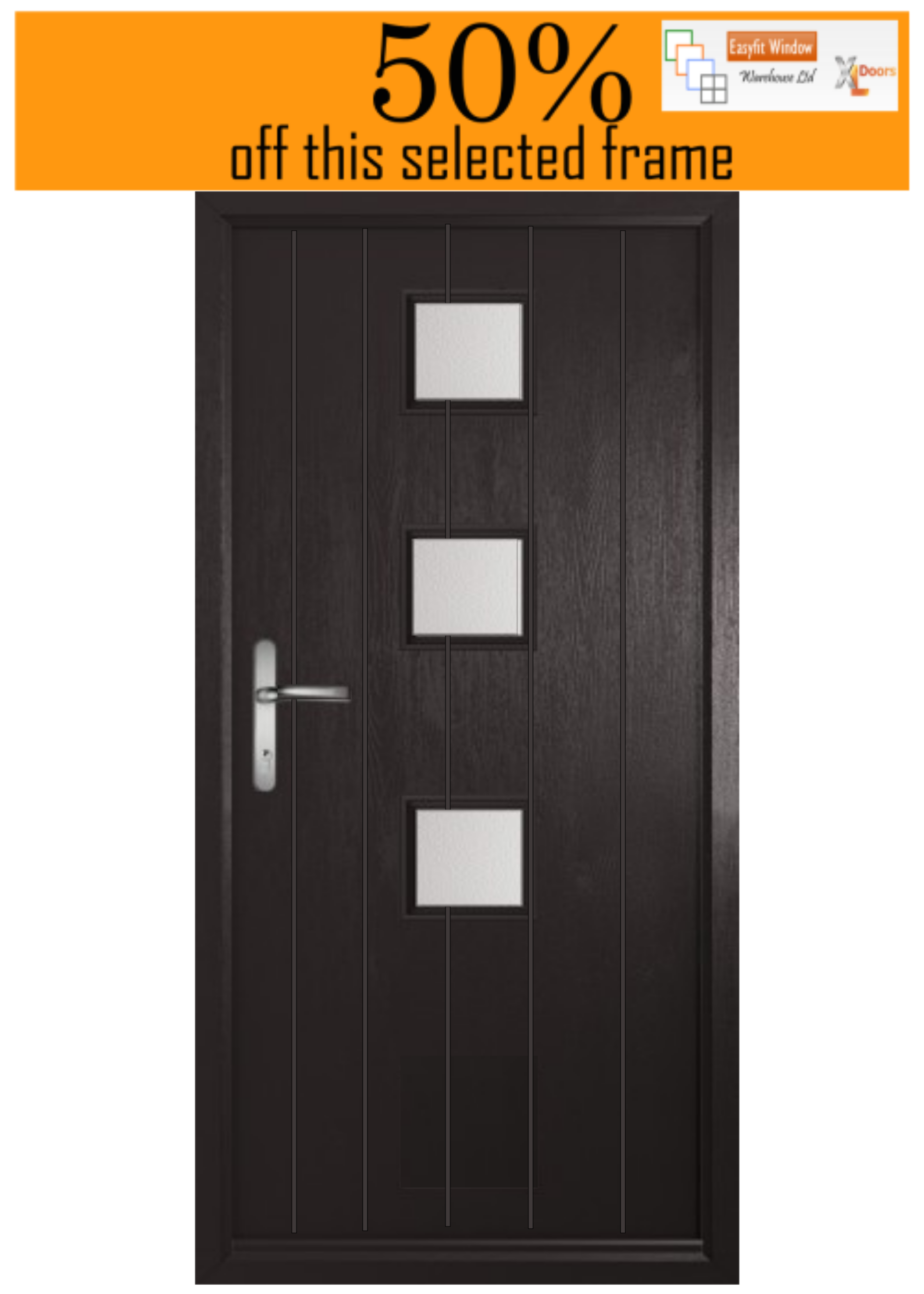 Seminole3 Composite door. Black frame and door on both sides. Hinged on the Right (viewed from the outside) and opening IN. Chrome lever/leverhandle. Height is excluding a cill. Glass in any standard obscure.