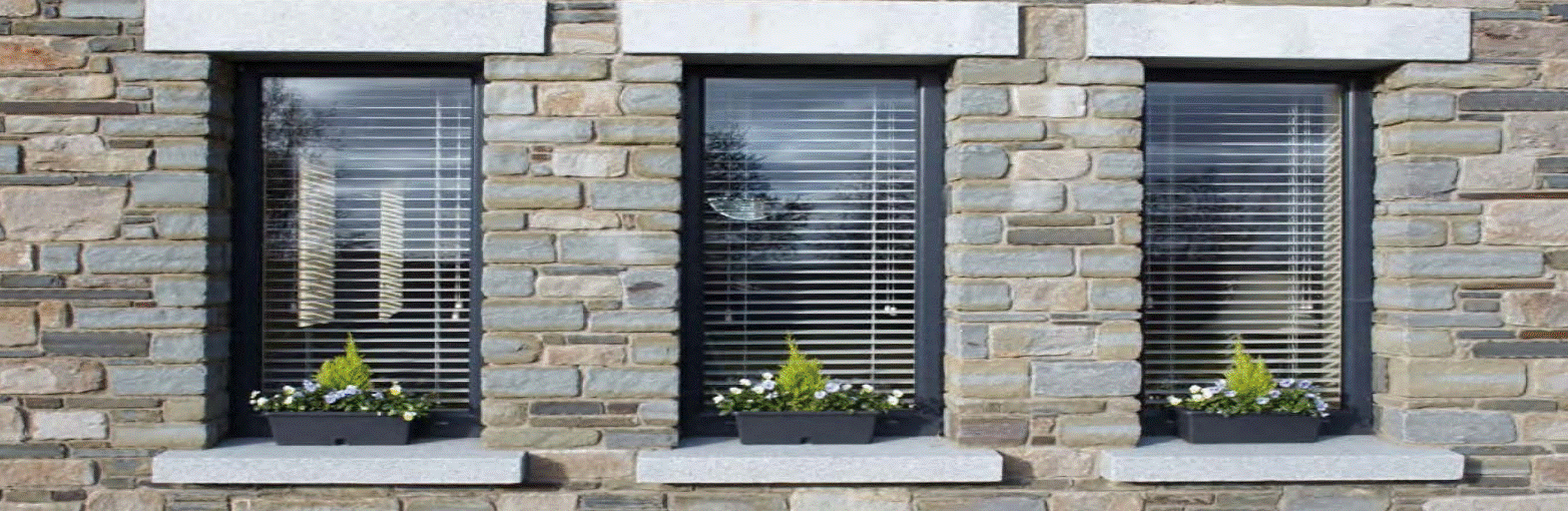 Extensive aluminium casement window range including fixed lights, side and top opening