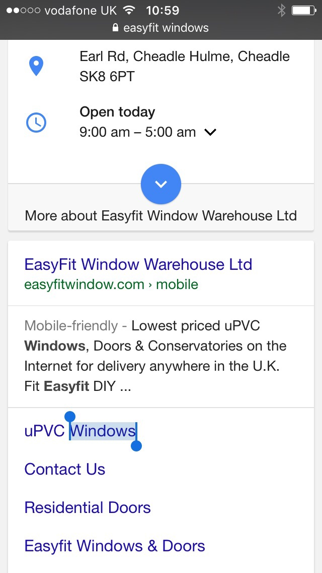 Easyfit Window Mobile Website instructions for Iphone
