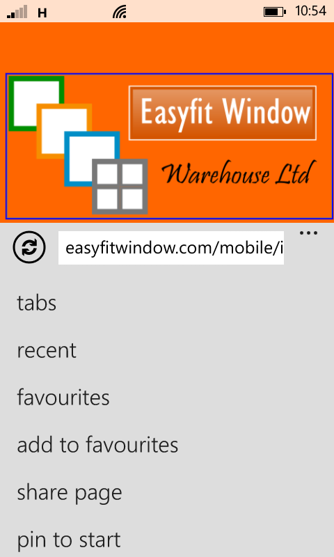 Easyfit Window Mobile Website instructions for Windows Phone